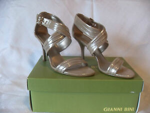 GIANNI-BINI-GOLD-FUSION-LETHER-PUMPS-SZ-7-5M