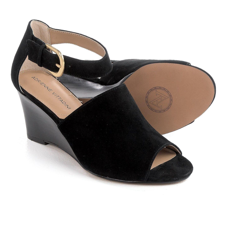 Adrienne Vittadini Ranta Wedge Sandals Suede, Black or Almond, US 8.5