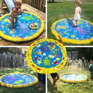 Wasser-Spielmatte-Sprinkler-Spielzeug-Aktivitaet-Kleinkinder-Baby-Pool-aufbl-D0I6
