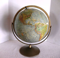 "REPLOGLE LAND & SEA TRUE-TO-LIFE 12"" GLOBE RAISED TOPOGRAPHY METAL STAND 1965"