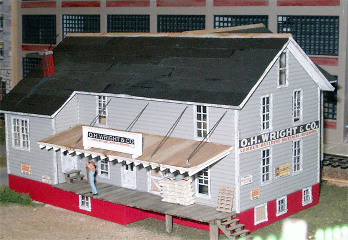 OH WRIGHT & CO HO Model Railroad Factory Warehouse Structure Unpainted Kit BR102