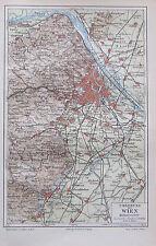 1890 UMGEBUNG VON WIEN alter Stadtplan Antique City Map Lithographie Österreich