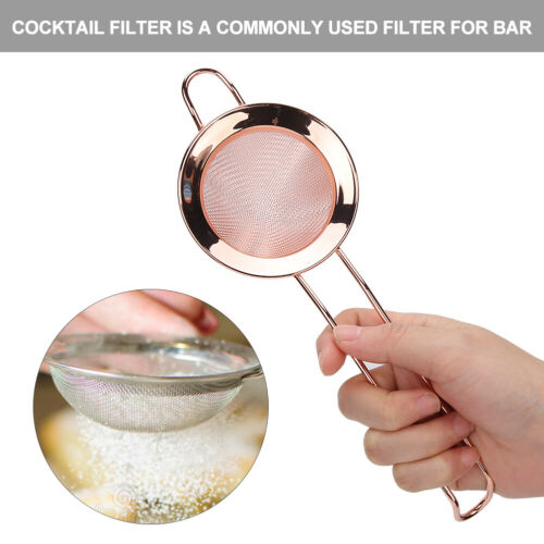 Cone Shape Cake Powder Filter Cocktail Mesh Strainer Bar Accessories Rose Gold
