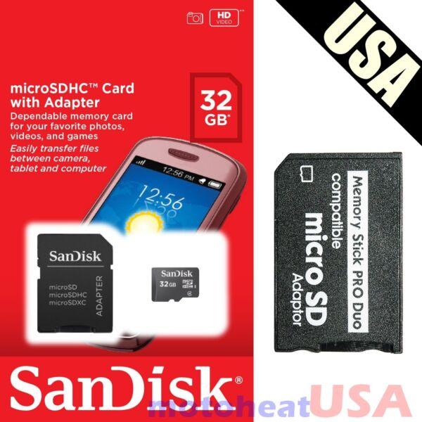 32gb Mémoire Stick W / Ms Pro Duo Carte Adaptateur Pour Psp Cyber-shot Caméra Peut êTre à Plusieurs Reprises Replié.