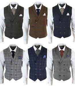 Mens-Double-Breasted-Herringbone-Tweed-Peaky-Blinders-Vintage-Check-Waistcoat