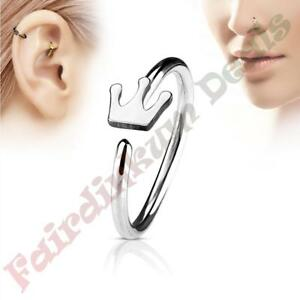 316L-Surgical-Steel-Silver-Ion-Plated-Nose-amp-Ear-Cartilage-Ring-with-Crown