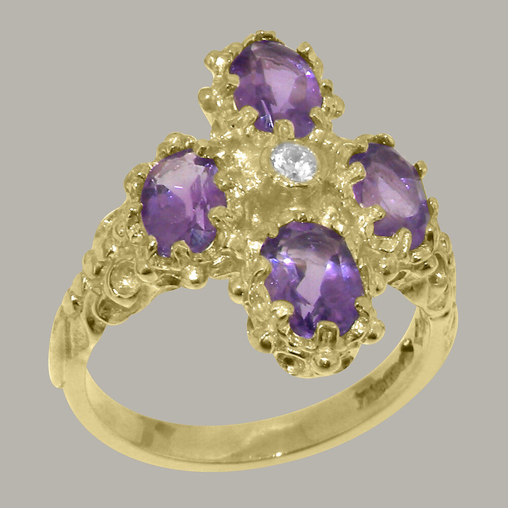 14ct Yellow gold Natural Diamond & Amethyst Womens Cluster Ring - Sizes J to Z