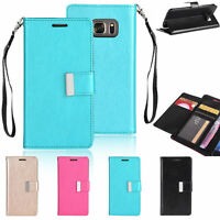 For Samsung Galaxy S7 / S7 Edge Wallet Card Holder Flip Stand Leather Case Cover