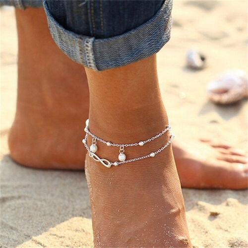 Femme double chaîne bracelet cheville pieds nus sandales pied de plage bij bg