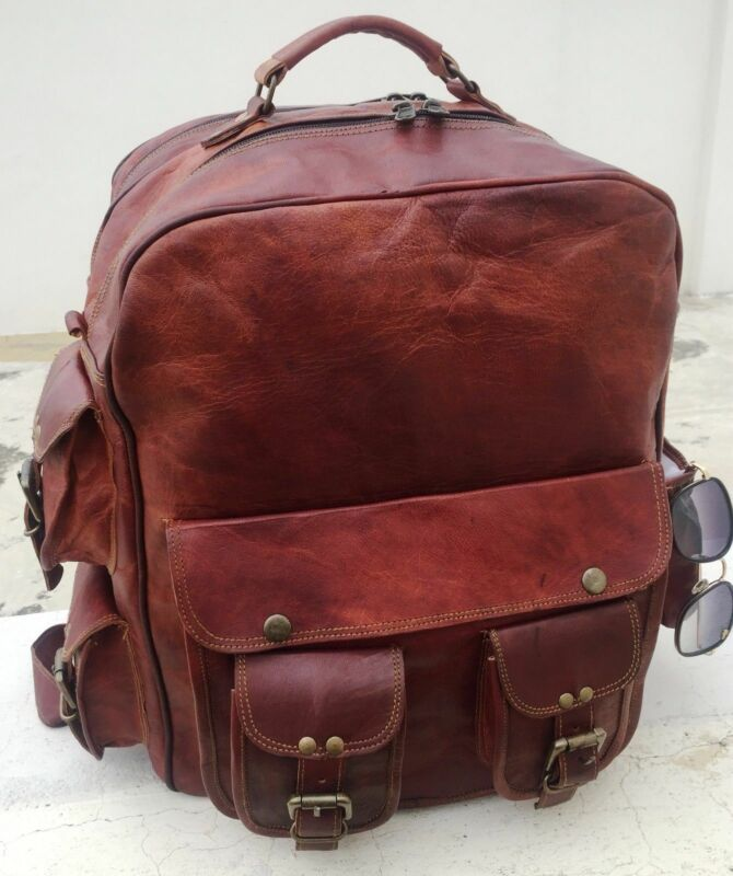 Goat Messenger Laptop Genuine Bag 16 Backpack Vintage Rucksack Leather Bag Highly Polished
