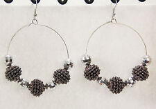 Jumbo big disco ball beaded earrings door knocker hoop silver gray shambala
