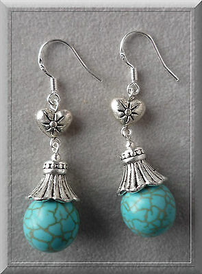 Bijoux, Montres Bijoux Fantaisie Straightforward Ravissantes Dormeuses Perle De Turquoise Tige Alliage Argente