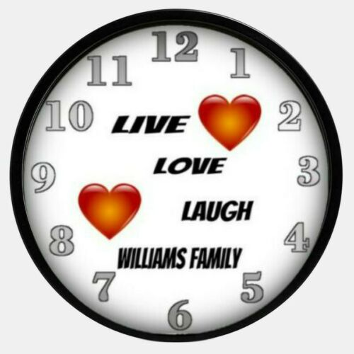 Live Love Laugh Inspirational Wall Clock Personalized Family Name Hearts
