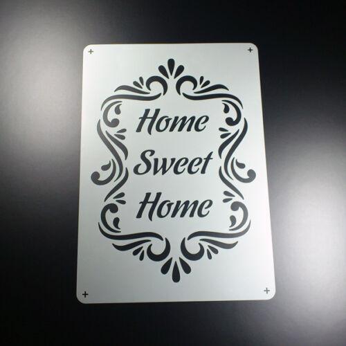 A5 Schablone Home Sweet Home Ornament Rahmen Frame BO574