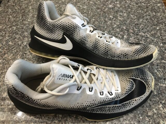huge discount 307ce 56732 NIKE AIR MAX INFURIATE LOW BASKETBALL SHOES WHITE BLACK MEN S SIZE 13  852457-100