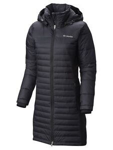 Columbia Powder Pillow Hybrid Long Jacket Womens Black