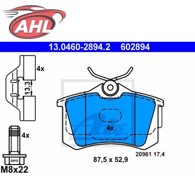 ATE 13.0460-2894.2 Plaquettes de frein pour Audi A1 A3
