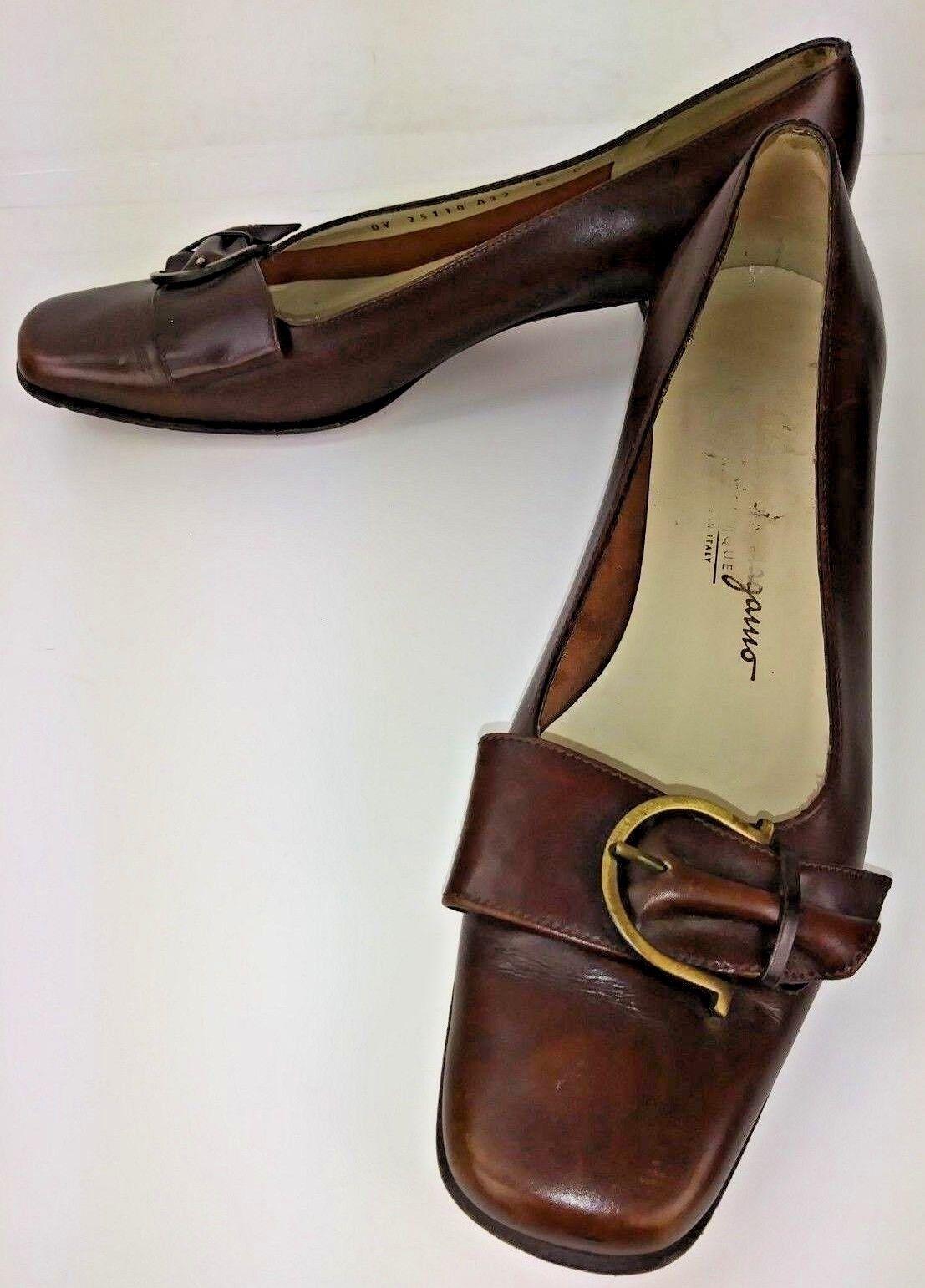Salvatore Ferragamo 25118 Womens shoes Heels Pumps US 5.5 B Brown Leather 492