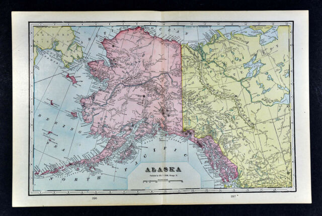 1900 Mcnally Map Alaska Sitka Yukon Klondike Gold Region Dawson
