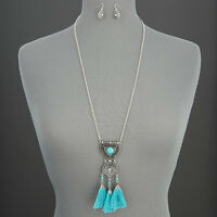 Silver Chain Vintage Tassels Turquoise Unique Pendant Necklace With Earrings