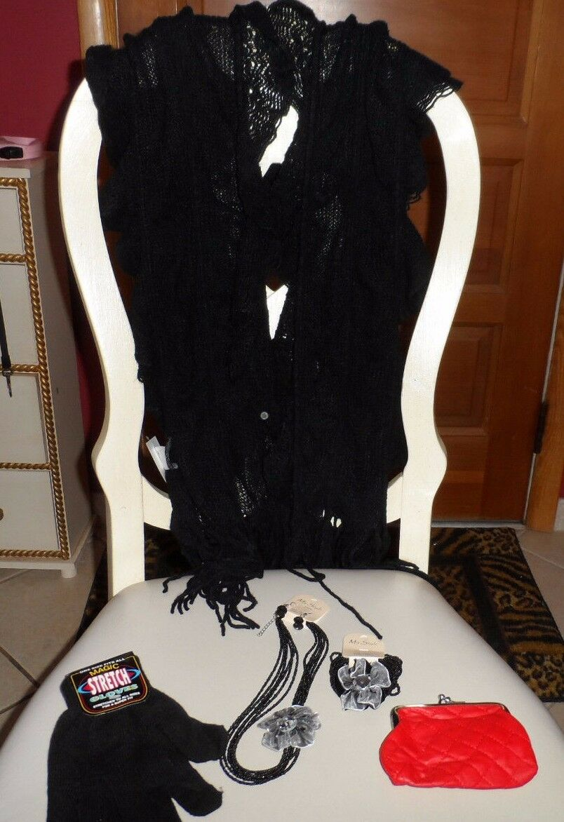 Ladies gift set - ruffle scarf, gloves, coin purse, necklace, earings, bracelet