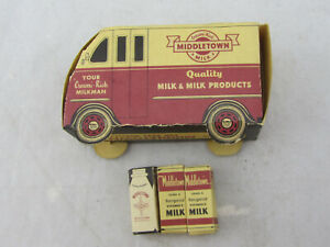 Vintage-1954-Middletown-Milk-Carboard-Delivery-Truck-w-3-Milk-Containers