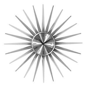 Sunburst-Wall-Clock-Silver-Large-Analogue-Quartz-Time-Piece-Easy-Read-Hanging
