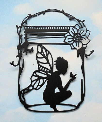 black silhouette Die Cut Fairy jar x 4