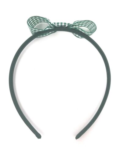 Green Gingham Bow Hairband Headband Alice Band Green Girls Snow White Style Bow