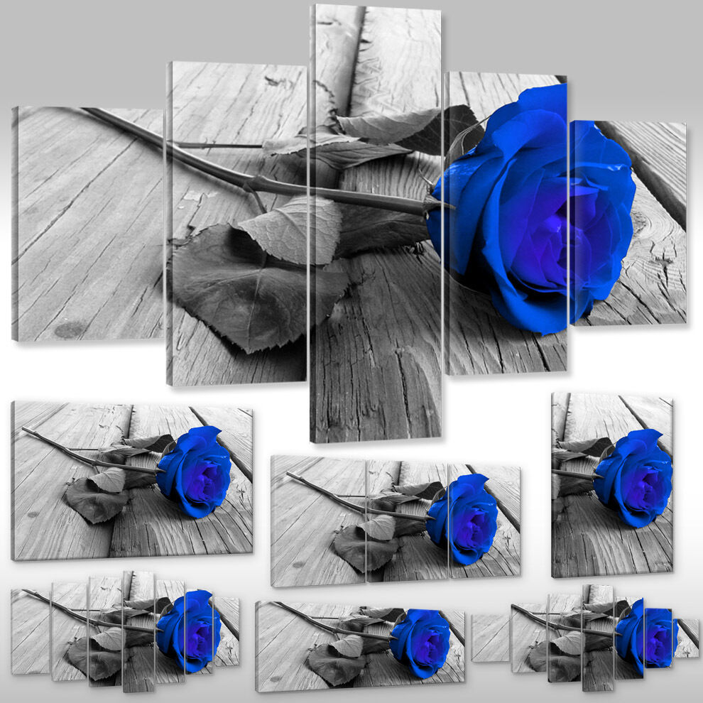 Quadro su Tel Tela Dipinto a Parete Stampa Artistica Cornice Cornice Cornice Fiori Blu rosa Steg 5c8ed5