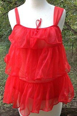 1960s Baby Doll Lingerie Short Nightie Red Tiered Sissy Vtg Sz Medium