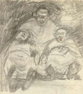 20th Century Charcoal Drawing - A Motley Crew