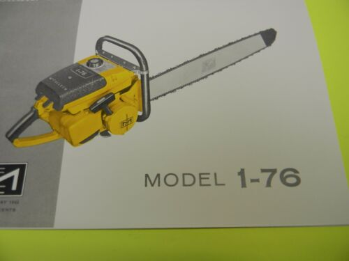 MCCULLOCH CHAINSAW MODEL 1-76 OWNERS MANUAL MAN 183D --------
