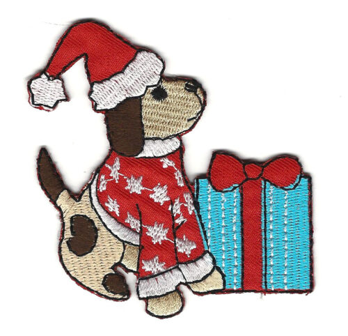 """3X3/"""" BROWN PUPPY Dog EMBROIDER IRON ON SEW ON PATCH Christmas Santa hat present"""