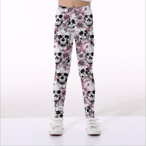 Kid Legging Pink Floral Skull printed Kid legging Elastic Legging S-XL Legging