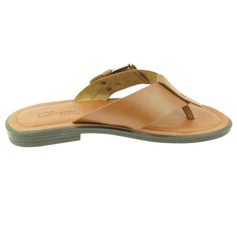Charles Stone Genuine Leather Men's Flip-Flop Sandals, Tan 7-12US 40-45EU 40-45EU 40-45EU 16c80f