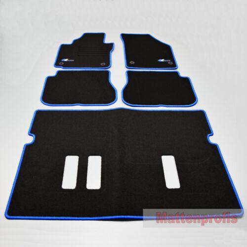 Mattenprofis Velours Logo Fußmatten für VW Caddy IV 7 Sitzer Bj.6//2015 5tlg blau