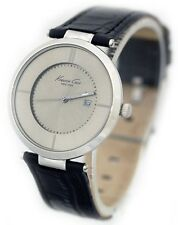 New Kenneth Cole Gray Dial and Black Leather Strap Date Women's Watch KC2799