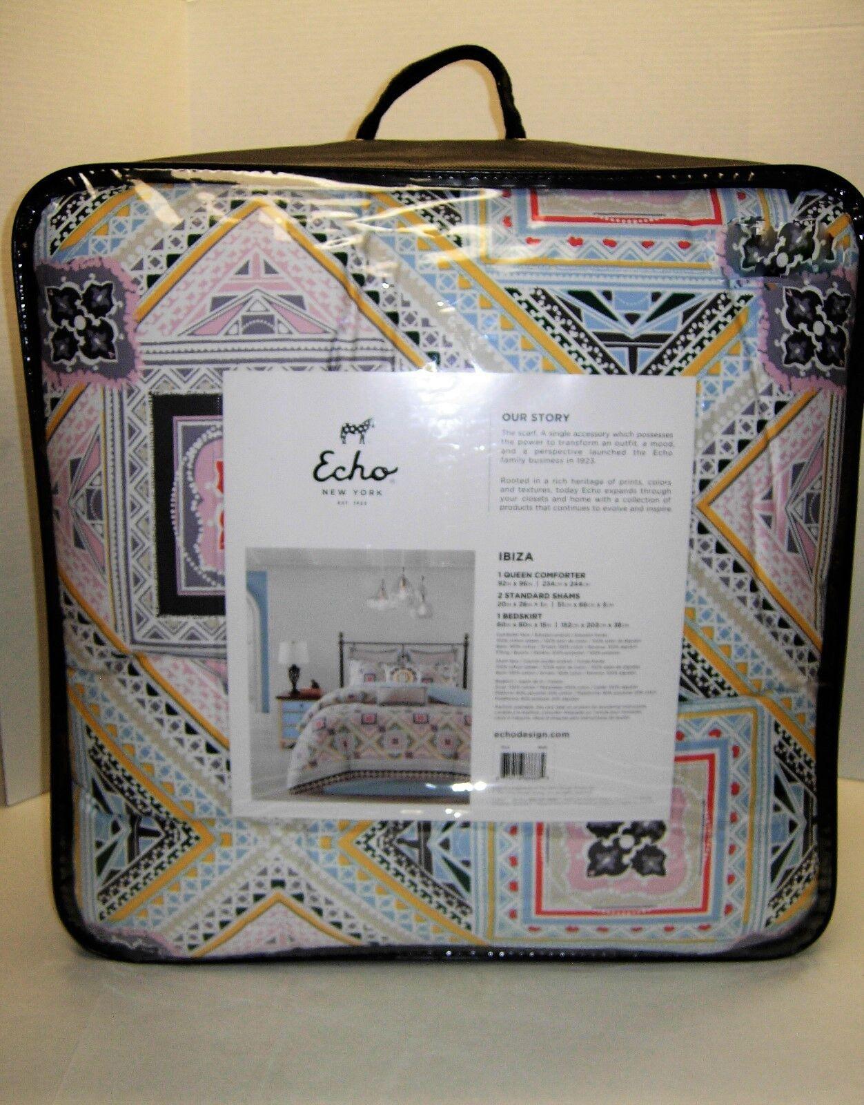 Echo Design Ibiza Cotton Reversible Print Comforter Set KING or QUEEN NEW