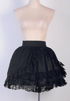 Gothic Lolita Black Mini Skirt Lace & Satin Partywear Size S-6XL Punk MMS A2779