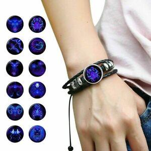 Handmade-Zodiac-Sign-Leather-Bracelet-12-Constellation-Horoscope-For-Women-Men