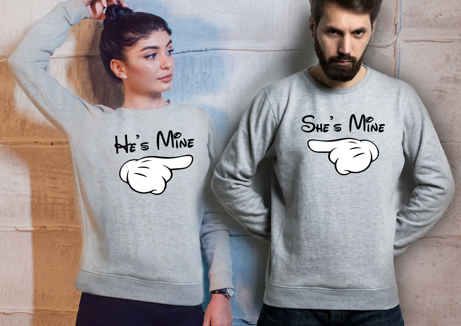 He is Mine, She is Mine. His and Hers Sport Grey Unisex Couples Sweatshirts