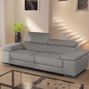 Image Is Loading Nicoletti Lipari Italian Grey Leather 3 Seater Sofa