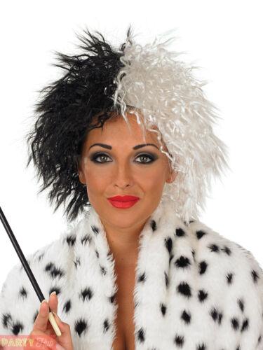 Evil Madame Half Black White Wig Ladies Cruella Dalmatian Fancy Dress Costume
