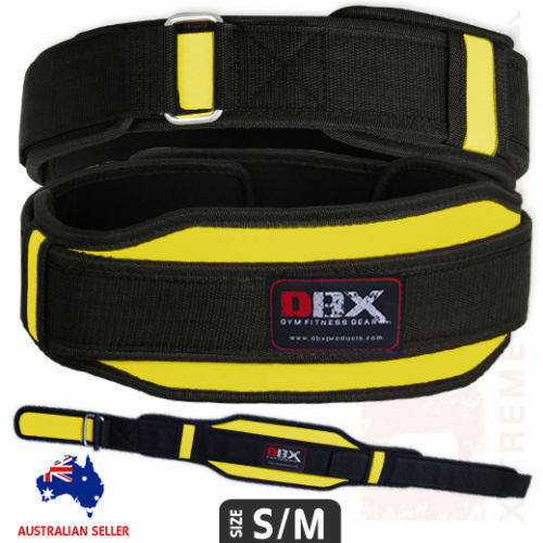 Weight Lifting Fitness Belt Body Building Double Support Neoprene Yellow S//M