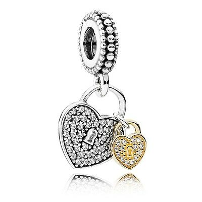 gift pouch Silver Plated Love Locks two tone gold Heart pendant European Charm
