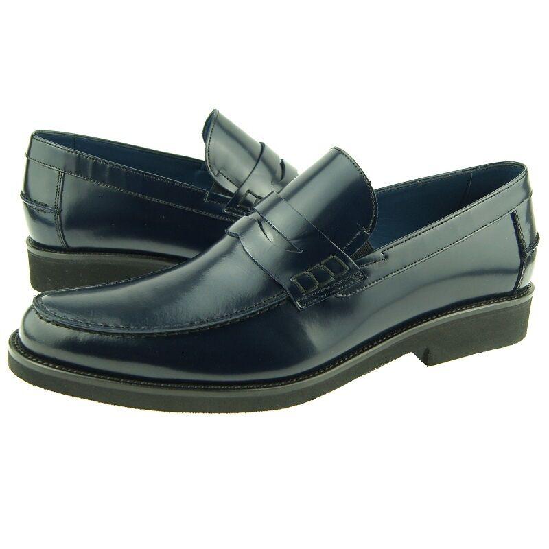 Zapatos De Cuero Charles Piedra Penny Mocasín, Para Hombre Vestido Informales Sin Cordones, Azul Marino