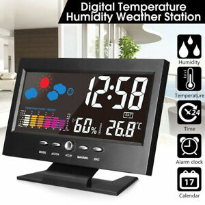 New-LED-Digital-Alarm-Clock-Snooze-Calendar-Thermometer-Weather-Color-Display