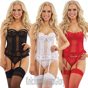 Sexy-Lace-Basque-and-Thong-Lingerie-Underwear-Set-Black-White-Red-Select-Size