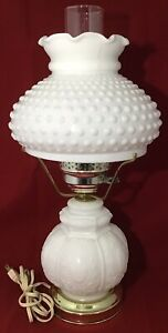 White-Milk-Glass-Hobnail-Cameo-Three-Way-Lamp-GWTW-Shabby-Chic-Cottage